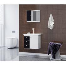 Gabinete Armario P/ Banheiro Com Pia Sparta Cor Branco/preto