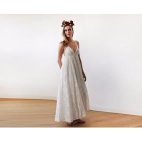 Exclusivo: Vestido Noiva Boho Renda Italiana Frente Única