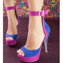 Sandalia Lilás Com Azul