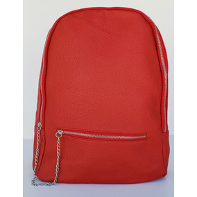 Mochila / Cartera Color Rojo De Pu, Cuero Ecologico K1230-19