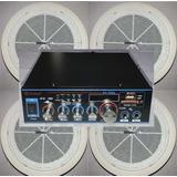 Kit Amplificador Musica Audio Ambiental Usbsd Fm +4parlantes