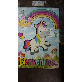 Cartel Bienvenidos Temática Unicornio