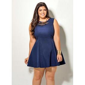 Vestido Plus Size Feminino Evasê Marinho Em Sarja