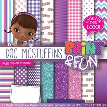 Kit Imprimible Pack Fondos Doctora Juguetes 2 Clipart