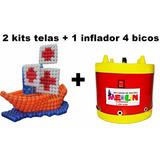 1 Inflador 4 Bico + 2 Kits Telas P/ Baloes,baloes Metalizado