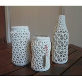 Florero Frasco Vestido Crochet - Decoración Eventos