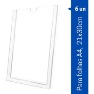 Display De Parede Acrílico A4 Porta Folha 21x30cm 6p Similar