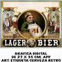 Etiqueta Cerveza Vintage Lámina Impresión Digital 27 X 43 Cm