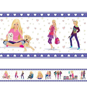 Adesivo De Parede Faixa Infantil Barbie Roxa
