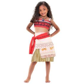 Fantasia Moana Com Colar Infantil Disney Lançamento