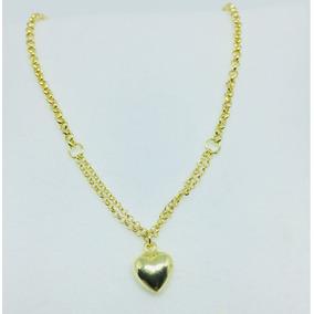 Colar Gargantilha Corrente Feminino Ouro 18k Com Coração