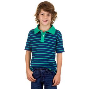 Camisa Polo Infantil Azul Marinho Listrada Colombo Kids