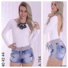 Short Jeans Com Moletom Modelo Panicat