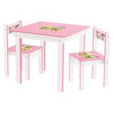 Mesinha Infantil 2 Cadeiras De Madeira Mesa Mdf Rosa