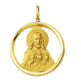 Pingente Coração De Jesus De Ouro 18k Grande Redondo