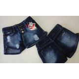 6 Shorts Jeans Juvenil Feminino Azul Destroyed