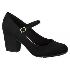 Sapato Feminino Salto Médio Boneca Moleca Preto 5300.311