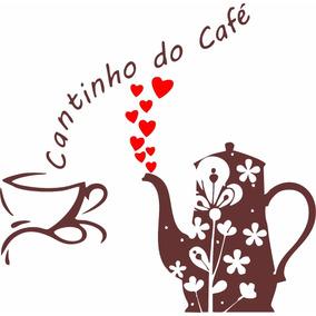 Adesivo Cantinho Do Café Xícara Corações Parede Decoração
