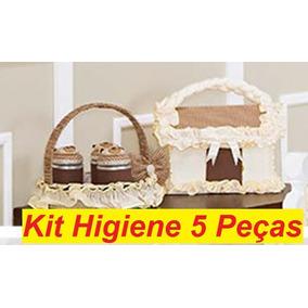 Kit Higiene Bebê Acessórios 5 Peças Quarto De Menino Marrom