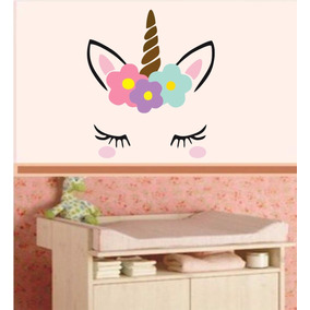 Adesivo Parede Infantil Unicórnio Cabeça Olhos Floral Flor