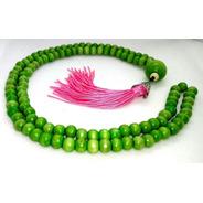 Colar Japamala Verde Rosa Madeira Importada 108 Contas 8mm