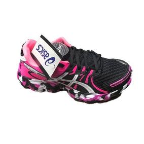tenis asics feminino preto com rosa