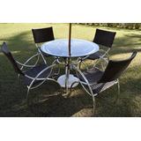 Jogo De Mesa 4 Cadeiras Aluminio Fibra Piscina Melhor Preço