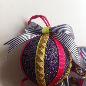 Kit 4 Bolas Natal Glitter Roxo Neon E Pink