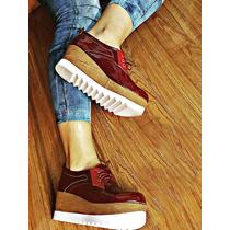 Zapatos Con Plataforma Vino Tinto De Moda