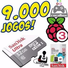 Cartão Retrogames Raspberry Pi Jogos Retro Play Recalbox