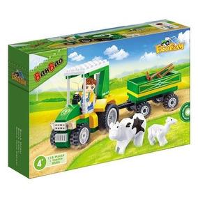 Brinquedo De Montar Banbao Eco Fazenda Trator C/carreta 115p