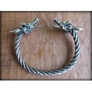 03) Pulseira Viking Torc Torque Celtic Dragon - Prata Maciça