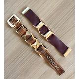 Conjunto Kit 02 Pulseira Couro Bracelete Metal Dourado