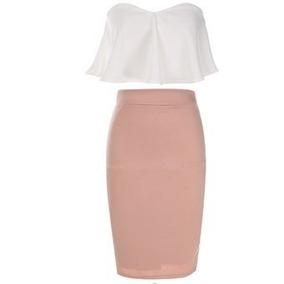 Set De Crop Top Strapless Y Falda Lápiz Para Mujer-rosa Con