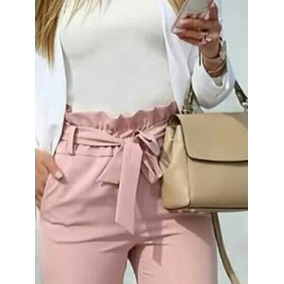 Bello Pantalon De Lazo Unicolor Moda Fashion Tendencia
