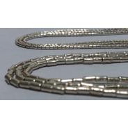 Collar Mostacilla Gruesa De Plata 100 Centímetros