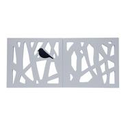 Quadro Decorativo Abstrato Com Pássaro Em Mdf Laqueado Luxo