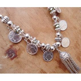 Collar Con Cadenas, Monedas Y Cristales - Por Menor Y Mayor