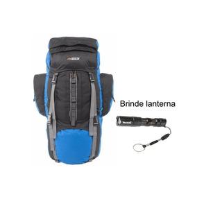 Mochila 80 Litros Nautika Camping Preta E Azul Com Lanterna