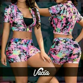 Conjunto Rosado De Short Y Blusa Para Mujer Hermoso Nuevo