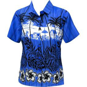 La Leela Blusas Botón De Camisa Hawaiana Traje De Baño Azu