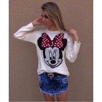 Blusa De Frio Feminina De Lã Trico Minnie Tricot Cardigan