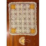 Antigua Carpeta Tejida Crochet Y Canastita Tejida Adorno