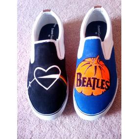 Vans The Beatles George Elton Tenis Original Pintado A Mano cbf51bee7cf