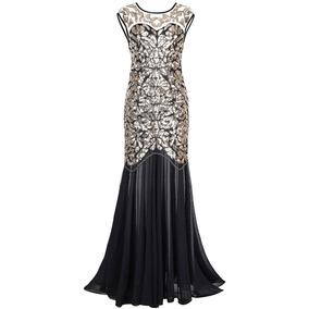 Gatsby Mujer 1920s Dorado Negro Prettyguide Vestido Noche