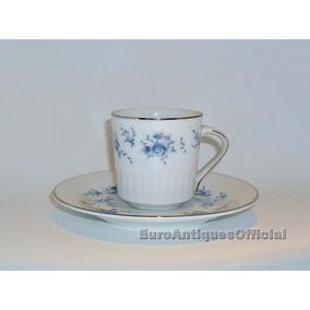 Tazas De Café Con Plato Porcelana Tsuji Borde Plata X Unidad