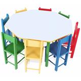 Mesa Infantil Oitavada Com 8 Cadeiras Em Madeira Carlu 5018