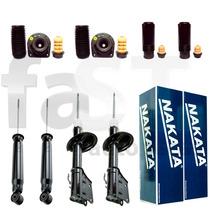 4 Amortecedores Nakata + Kits Fiat Siena 1997/1998 Refil