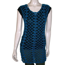 Vestido Camisola Remerón Tejido Crochet Hilo Mujer Talle S