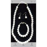 12 Collar Perla Nro 10mm + Pulsera + Aro Con Gancho O Clip